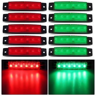 10X Red Trailer Side Marker Indicators Lights 6LED Bus Van Truck Sealed Light