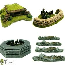 Wargames Terrain 28mm  Resin Bunkers & Barricades set  Bolt Action 40k UNPAINTED