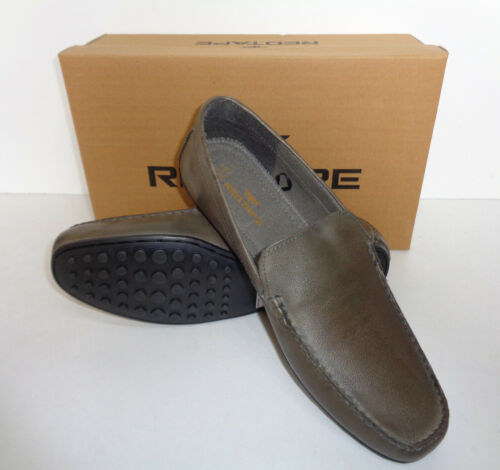 Mens Grey Leather Shoes Slip On New Formal Mocassin Office Loafers UK Sizes 7-12