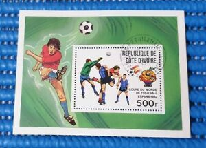 Cote D'ivoire Espana 1982 Football Commemorative Stamp Issue Miniature Sheet CTO