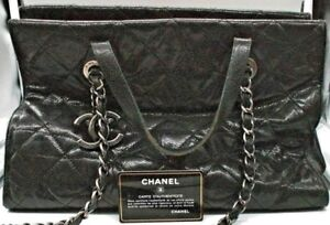 6448ecea5484 Image is loading Authentic-Vintage-CHANEL-Black-Caviar-Leather-Quilted -Chain-