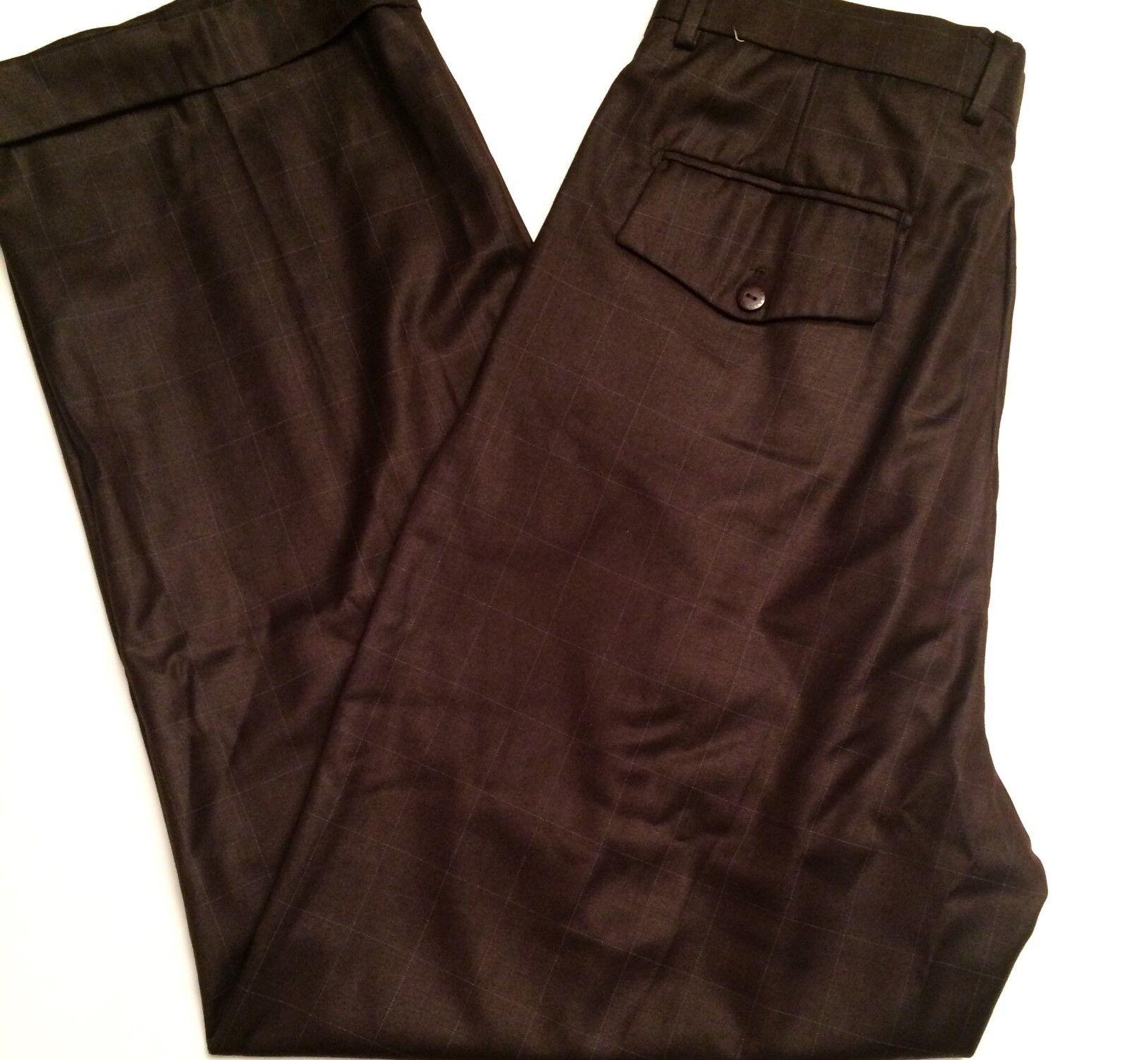 804e78f5d7 Bagazio Dress Pants Mens Size 36 x 32 Brown Plaid Pleated Front Cuffed NWT