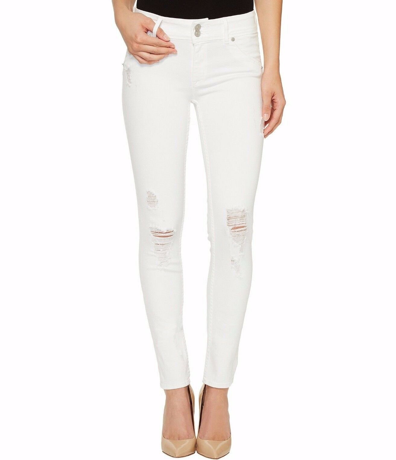 198 NWT HUDSON Sz32 COLLIN MIDRISE SKINNY STRETCH JEANS DEMOLISH WHITE DISTRESS