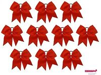 10 Red Big 7 Cheer Bow Pony Tail 3 Inch Ribbon Girls Hair Bows Cheerleading