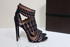 New 8 US / 38 Azzedine Alaia Blue Suede Open Toe Ankle Sandal Bootie Heel Shoes