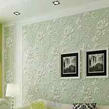 3D Light Green Wallpaper Roll Non-woven for Bedroom Living Room TV Wall 10m