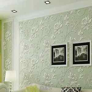 3d Light Green Wallpaper Roll Non Woven For Bedroom Living Room Tv Wall 10m Ebay