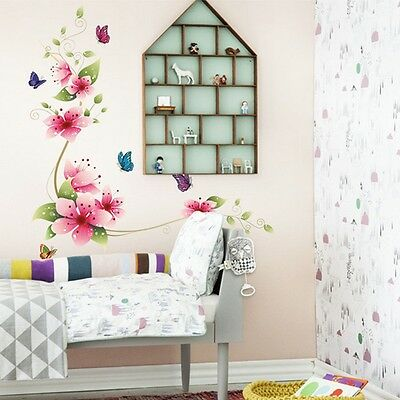Butterfly Flower Removable PVC Home Wall Sticker DIY Art Vinyl Mural Decor Decal