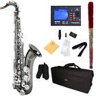 Mendini Bb Tenor Saxophone Sax ~Black Nickel Body Silver Keys +Tuner ~MTS-BNN