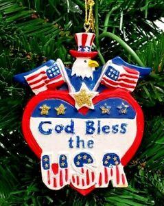 3-5-034-RESIN-GOD-BLESS-AMERICA-CHRISTMAS-ORNAMENT-BALD-EAGLE-USA-16308