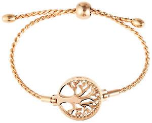 Edelstahl-Damen-Armband-Lebensbaum-Anhaenger-Rosegold-Kordelkette-Beauty-Fashion