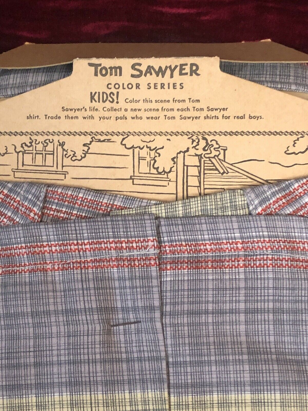 1950s Vintage TOM SAWYER Boy's Plaid Shirt w/ RAR… - image 4