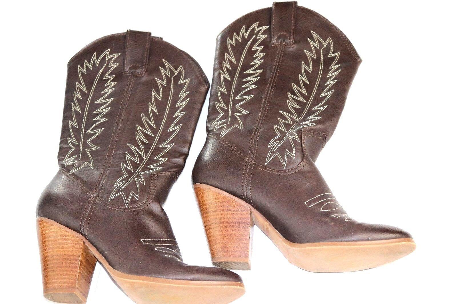 Miranda Lambert Cowgirl Women's Brown Design Stitched Cowboy aka Cowgirl Lambert Boots Sz 9M 03877e