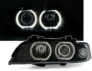 Angel-Eyes-Scheinwerfer-Set-fuer-5er-BMW-E39-1995-2000-V2-LED-Ringe-Schwarz-H7