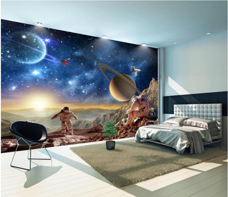 3D Planet Light 447 Wallpaper Murals Wall Print Wallpaper Mural AJ WALL UK Lemon