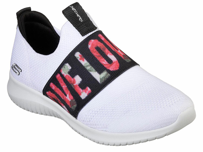 Skechers Ultra Flex Damen Turnschuhe Slipper Weiß