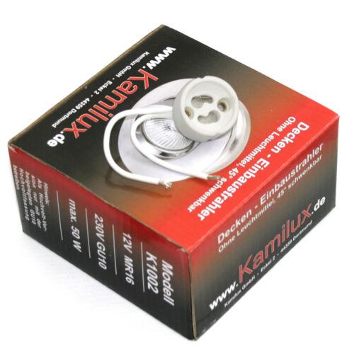 Fassung und 5Watt Power LED GU10 Hochvolt 230V grosser Einbaustrahler Toni inkl