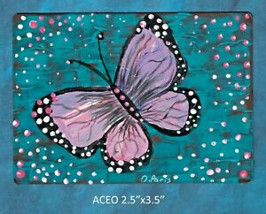 Original-ACEO-Butterfly-miniature-acrylic-painting-not-framed