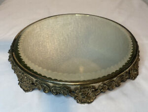 Antique Ornate Victorian Plateau Round Floral Footed Vanity Beveled Mirror 10in
