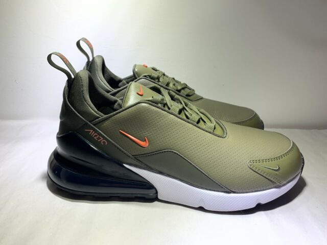 Nike Air Max 270 PRM Leather Olive Green White Mens Shoes BQ6171 200 Size 11
