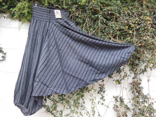 "Paracadute Harem Pantaloni Cotone A Righe Lagenlook etnico hippy Arty 24/"" 38/"" W"