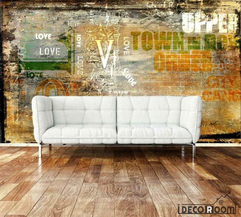 Bricolage Wall With Letters Living Room Art Wall Murals Wallpaper Decals Prints