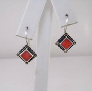 Sterling-Silver-Salmon-Coral-Marcasite-Dangle-Earrings