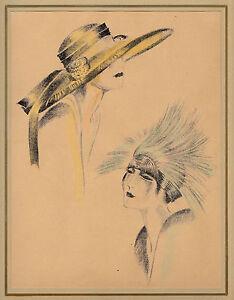 Annie Offterdinger-florentiner- Und Nachmittagshut-kreide-lithographie Aus Styl