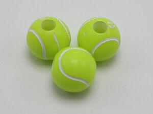 100 Florescent Yellow Tennis Ball Pattern Acrylic Round Beads 12mm