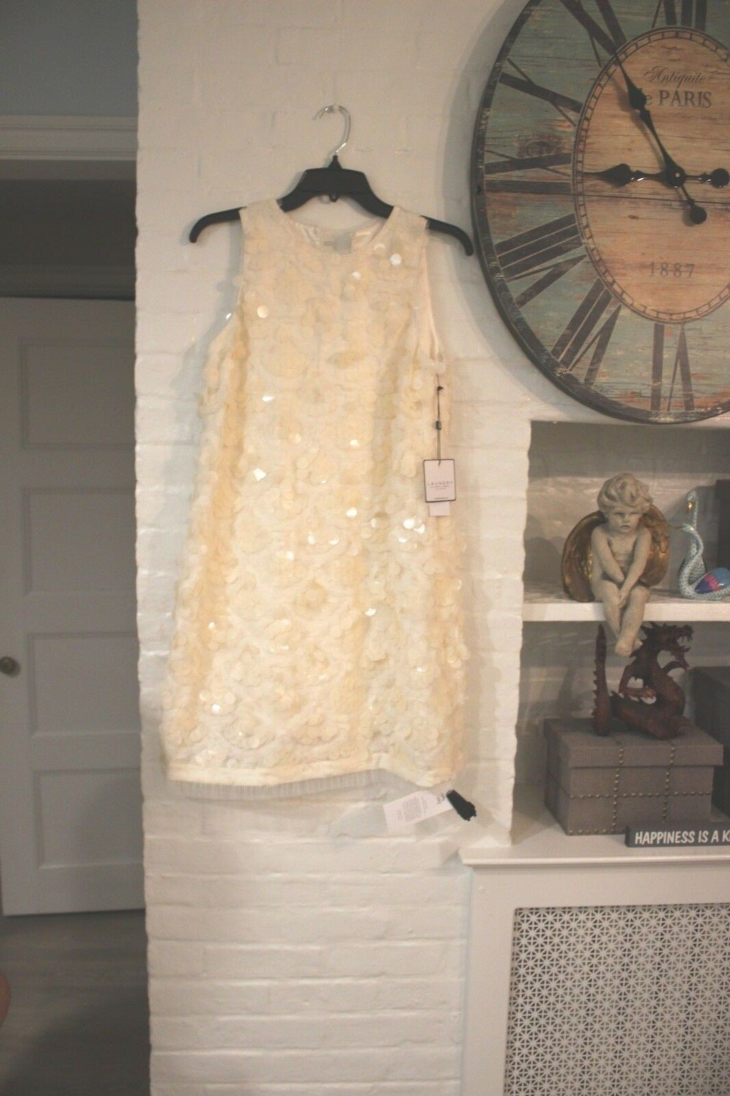 BNWT Laundry by Shelli Segal damen s Cream Sequin Disk Cocktail Dress Sz 4