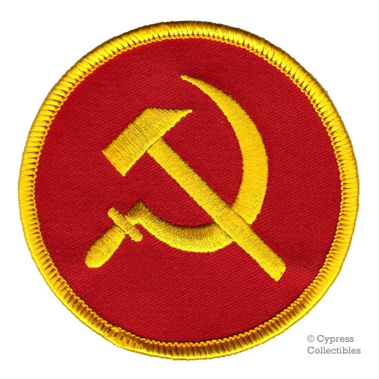 communist hammer sickle iron on patch ussr cccp russia embroidered