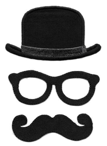 Black Bowler Hat 3 Piece Set Iron On Applique Patches Glasses /& Mustache