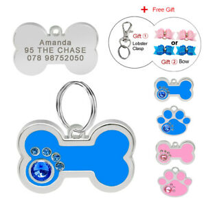 Bone-Paw-Personalised-Dog-Tags-Cat-Pet-Name-ID-Disc-Disk-Engraved-Free-Hair-Bows