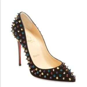 half off 2e27d 6046d Details about NEW - Christian Louboutin Follies Spikes 100 Velvet Patent  Heels - Black/Multi