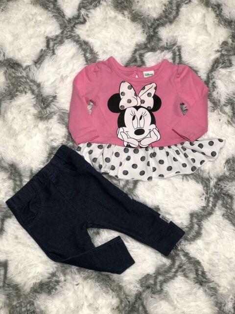 New Disney Baby Girls/' Peek A Bow Minnie Mouse Fleece Hoodie Set Size 0-3-6-3 M