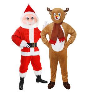 ADULT CHRISTMAS MASCOT ELF SANTAS LITTLE HELPER XMAS PLUSH BIG HEAD FANCY DRESS