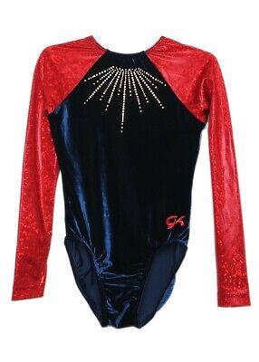 GK Elite Jeweled Chartreuse//Blue Gymnastics Leotard AM Adult Medium 3956