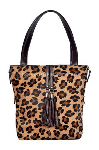 di donna a in con Borsa marrone lusso stampa pelliccia vera pelle tracolla da in leopardo JcTFlu13K