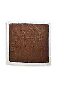 Frederick-Thomas-plain-Dark-Brown-knitted-pocket-square-with-White-edging