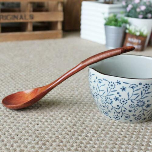1* Wooden Spoon Chinese Lacquer Tableware Heat Resistant Wood Soup Spoon Brown