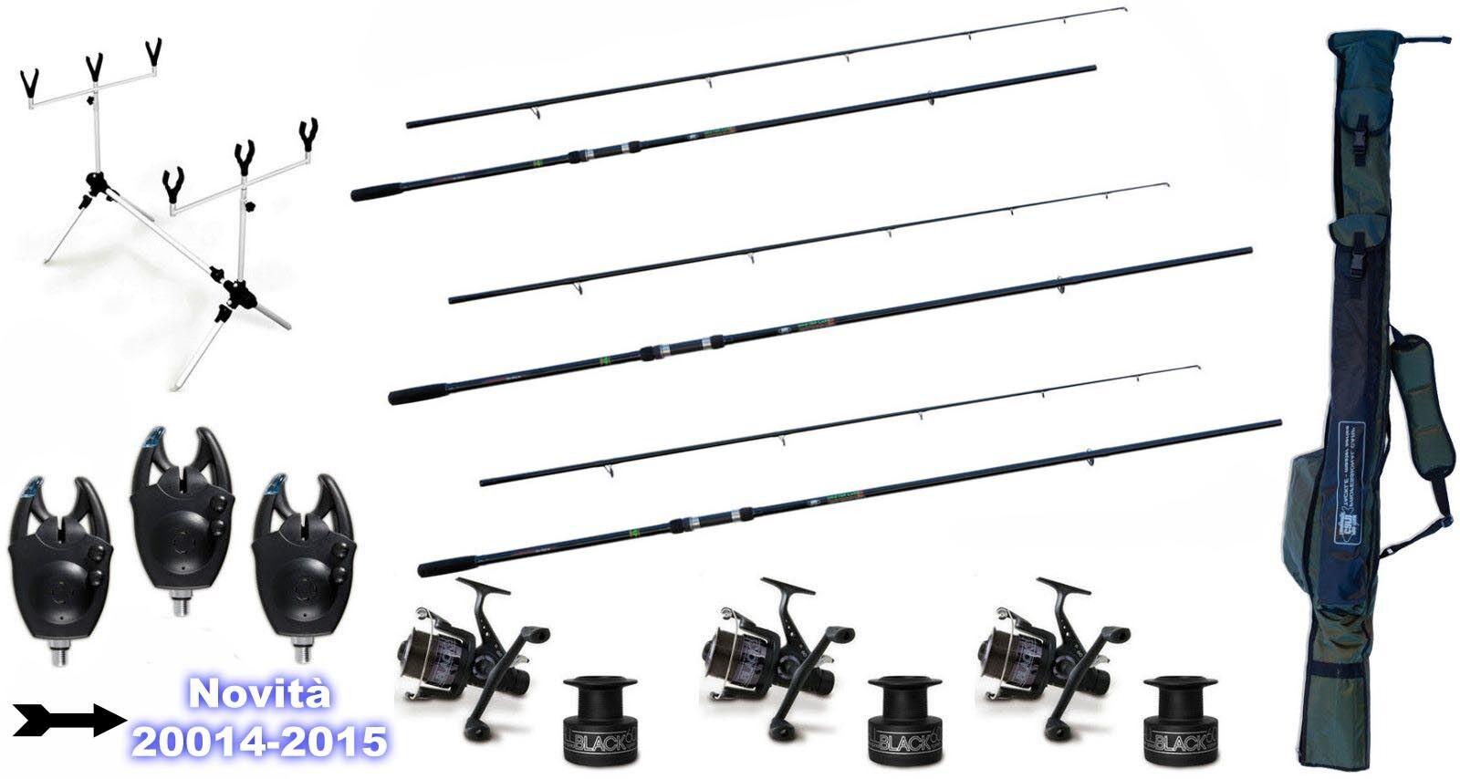 Kit 3 Canne da Pesca Carpfishing + 3 Mulinello Mulinello 3 + Filo Rod Pod Avvisatori Fodero 56870a