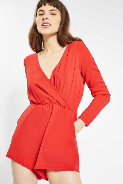 Glamorous Wrap Front Playsuit Red Size M UK 12 Dh086 KK 06