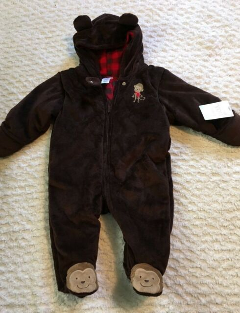 dc205793a Just One You By Carters Brown Monkey Fuzzy Fleece Furry Snow Suit 6 M Six  Months