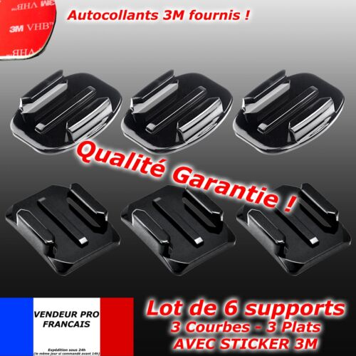 6 Supports GOPRO casque Fixation 3 plats flat mount 3M 3 courbes hero curve