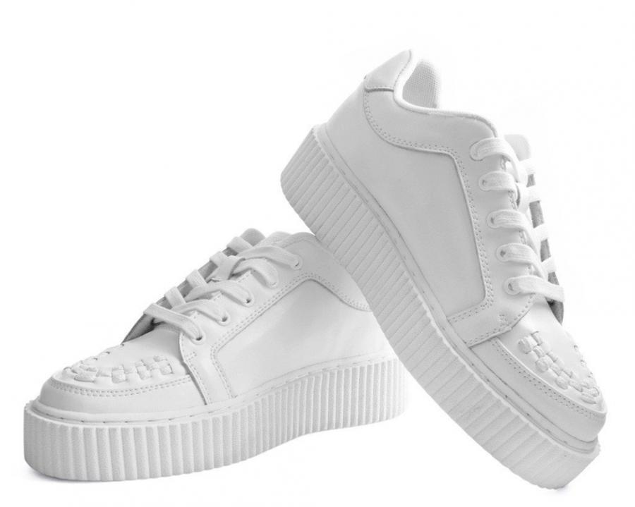 Creeper Sneaker Unisex whiteo Leather Casbah All White T.U.K A9275
