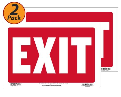 """2 Pack Weatherproof EXIT Sign 9/""""x12/"""" Durable Plastic Bright and Visible"""