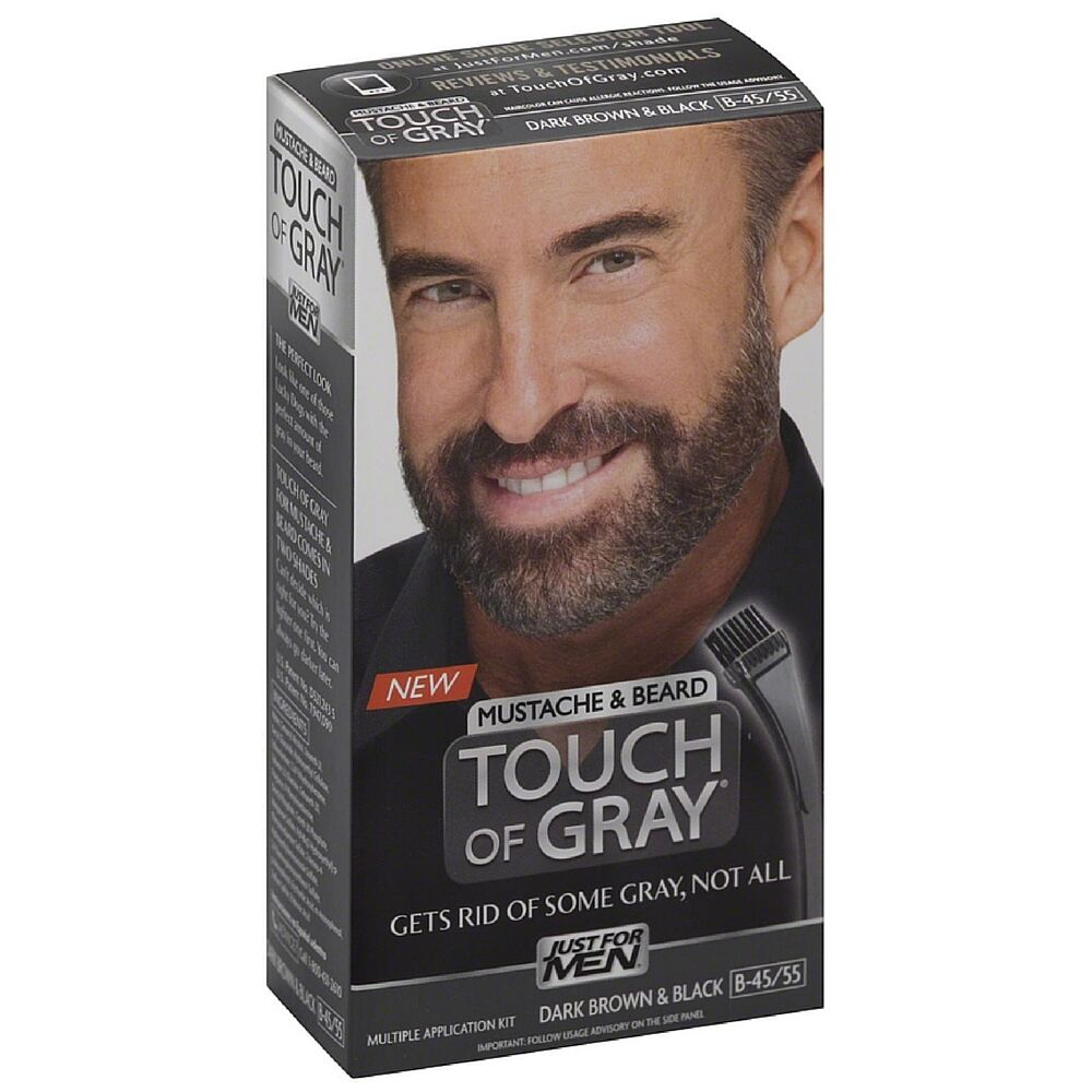 Just for Men Touch of Gray Mustache & Beard Dark Brown Black Hair ...