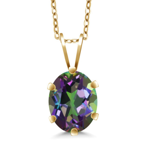 1.60 Ct Oval Shape Green Mystic Topaz Yellow Gold Plated Silver Pendant