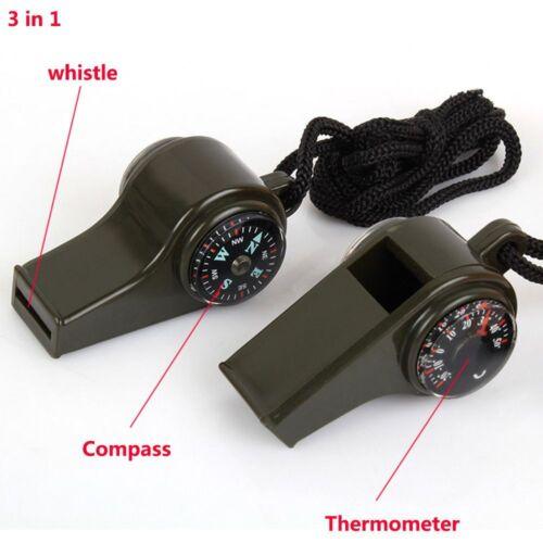3 In 1 Draussen Überleben Camping Kompass Pfeifen Notfall Thermometer