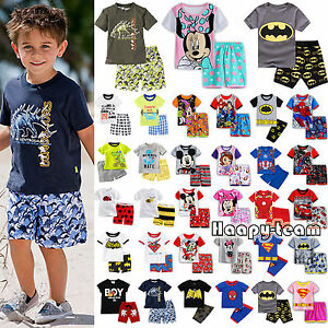 Kids-Boys-Cartoon-Sleepwear-Pj-039-s-Pyjamas-Summer-Outfits-T-shirt-Short-Pant-Set